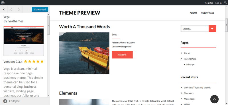 vega free wordpress theme